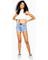 TOPSHOP - Button Roll Hem Kiri Shorts - Lyst