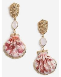 TOPSHOP Shell And Stone Drop Earrings