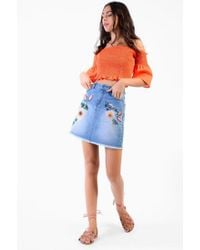 Glamorous - Embroidered Denim Skirt By - Lyst