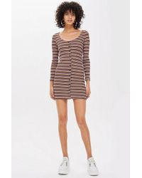 TOPSHOP - Long Sleeve Striped Button Mini Dress - Lyst