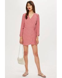 TOPSHOP - Petite Spot Wrap Mini Dress - Lyst