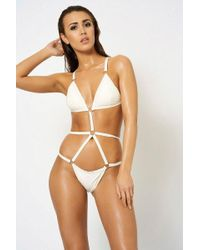 Club L - white Ring Detail Swimsuit By London - Lyst