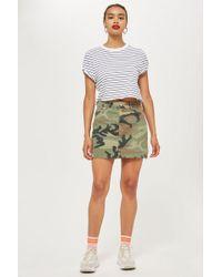 TOPSHOP - Camouflage Denim Skirt - Lyst