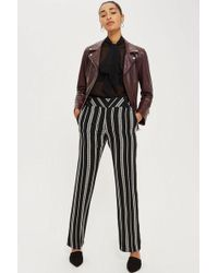 TOPSHOP - Striped Wide Leg Trousers - Lyst