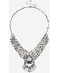 TOPSHOP - Chainmail Stone Collar - Lyst