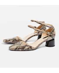 TOPSHOP - Jackpot Snake Print Two Part Court Shoes - Lyst