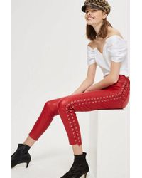 TOPSHOP - Premium Leather Side Lace Up Trousers - Lyst