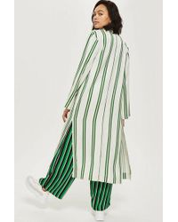 TOPSHOP - Striped Duster Coat - Lyst