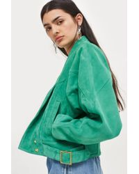 TOPSHOP - Green Suede Jacket - Lyst