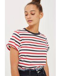TOPSHOP | Striped Roll Back T-shirt | Lyst