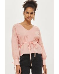 TOPSHOP - Pink Balloon Sleeve Smock Top - Lyst