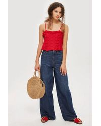 TOPSHOP - Petite Broderie Trim Camisole Top - Lyst