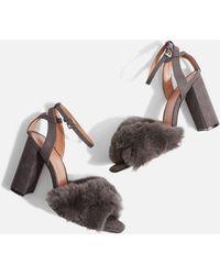 TOPSHOP - Sassy Faux Fur Heeled Sandals - Lyst