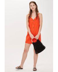 TOPSHOP - V-neck Button Mini Slip Dress - Lyst
