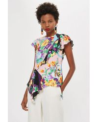 TOPSHOP - Floral Short Sleeve Frill Top - Lyst
