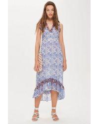 TOPSHOP - Ditsy Lace Trim Maxi Dress - Lyst