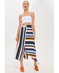 TOPSHOP - Petitestripe Asymmetric Midi Skirt - Lyst
