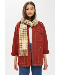 TOPSHOP - Double Face Check Scarf - Lyst