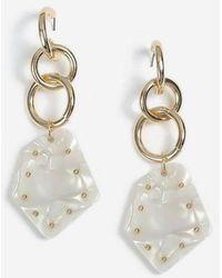 TOPSHOP - Chain Link Shell Drop Earrings - Lyst