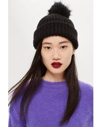 TOPSHOP - Knitted Faux Fur Pom Pom Hat - Lyst