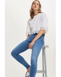 TOPSHOP - Mid Blue Sidney Jeans - Lyst