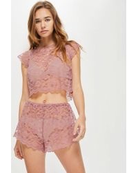 TOPSHOP - Scallop Lace Shorts - Lyst