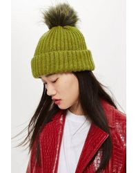 bc85be95709 TOPSHOP Faux Fur Pom Beanie Hat in Gray - Lyst