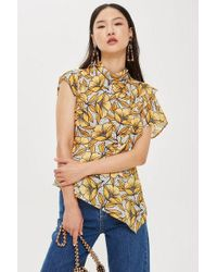 TOPSHOP - Spot And Floral Print Ruffle Blouse - Lyst