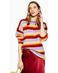2822a2deb4673e TOPSHOP Knitted Scoop Neck Jumper in Red - Lyst