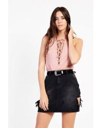 Glamorous - shredded Denim Skirt By - Lyst