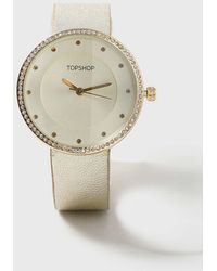 TOPSHOP | Gold Leather Strap Watch | Lyst