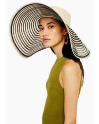 TOPSHOP - Onochrome Oversized Stripe Straw Hat - Lyst
