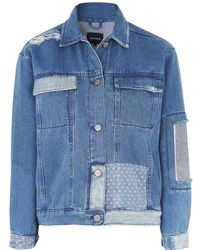 WÅVEN - Denim Jacket With Patchwork Detail By - Lyst