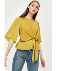 TOPSHOP - Petite Hammered Satin Knot Top - Lyst