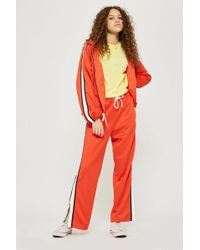 TOPSHOP - Tall Orange Popper Track Pants - Lyst