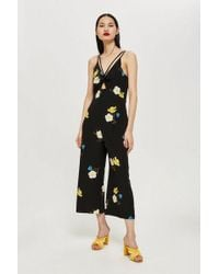 TOPSHOP - Tall Yellow Floral Jumpsuit - Lyst