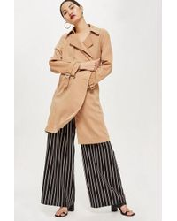 TOPSHOP - Double Breasted Trench Coat - Lyst