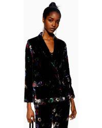 TOPSHOP - Floral Velvet Jacket - Lyst