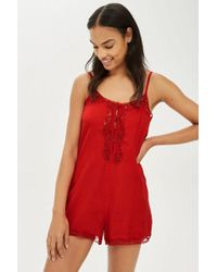 TOPSHOP - Red Jacquard Teddy - Lyst