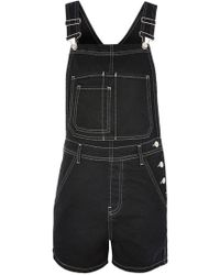 TOPSHOP - Moto Contrast Stitch Short Dungarees - Lyst