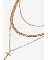 TOPSHOP - chain And Cross Multi-row Necklace - Lyst