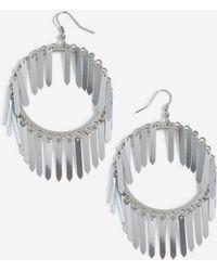 TOPSHOP - Sequin Stick Drop Hoop Earrings - Lyst