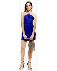 TOPSHOP - Frill Jacquard Mini Dress - Lyst
