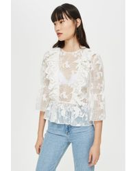 24a1e31ad84433 TOPSHOP Lace Balloon Sleeve Smock Blouse in White - Lyst