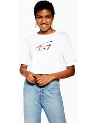 d755a6aa Tommy Hilfiger Tommy Jean 90s Capsule 5.0 Logo Mesh T-shirt in White ...