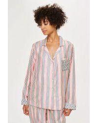 TOPSHOP - Key To Freedom Stripe Pyjama Shirt - Lyst