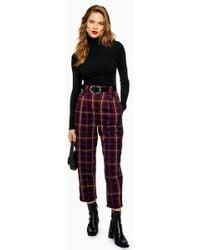 TOPSHOP - Check Peg Trousers - Lyst