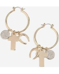 TOPSHOP - Cross Charm Hoop Earrings - Lyst