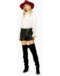 TOPSHOP - Leather Shorts - Lyst