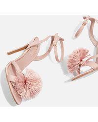 TOPSHOP - Renee Pom Pom Sandals - Lyst